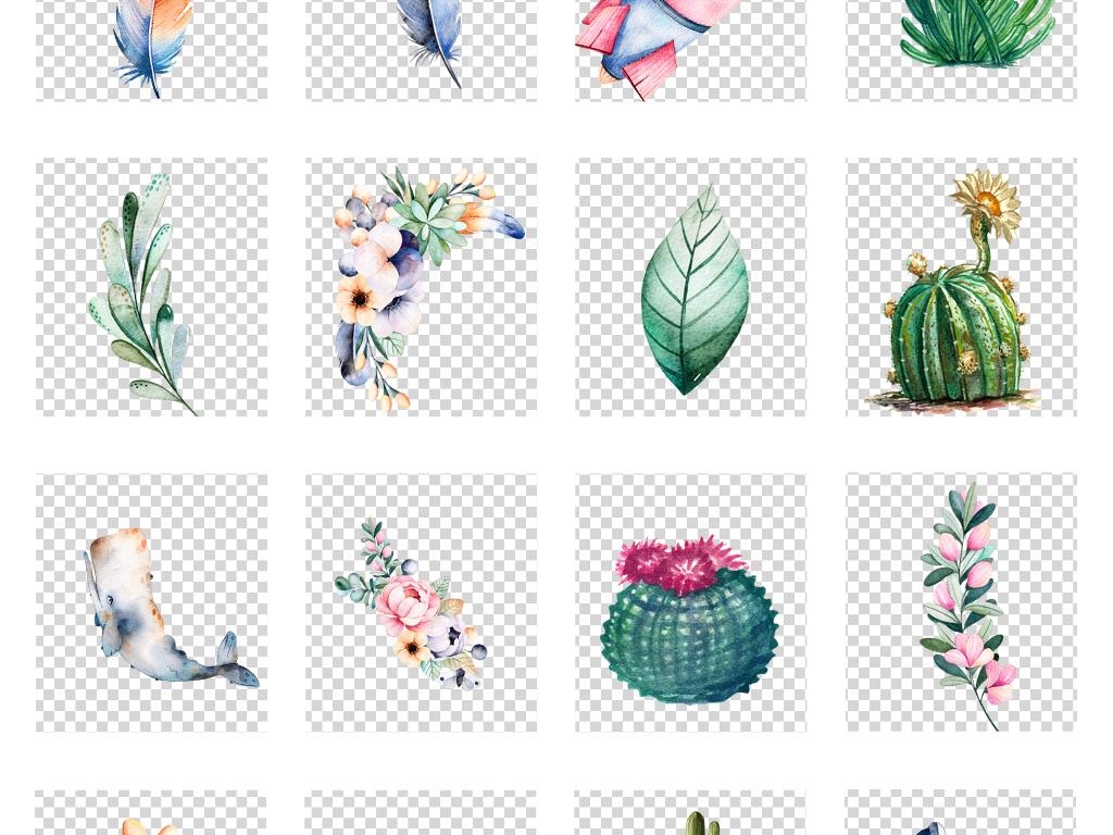 北欧小清新美式手绘插画水彩叶子动物素材