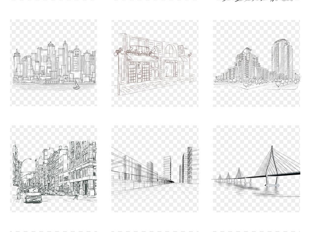 手绘城市建筑高楼房大厦别墅立体透视线稿png装饰插画