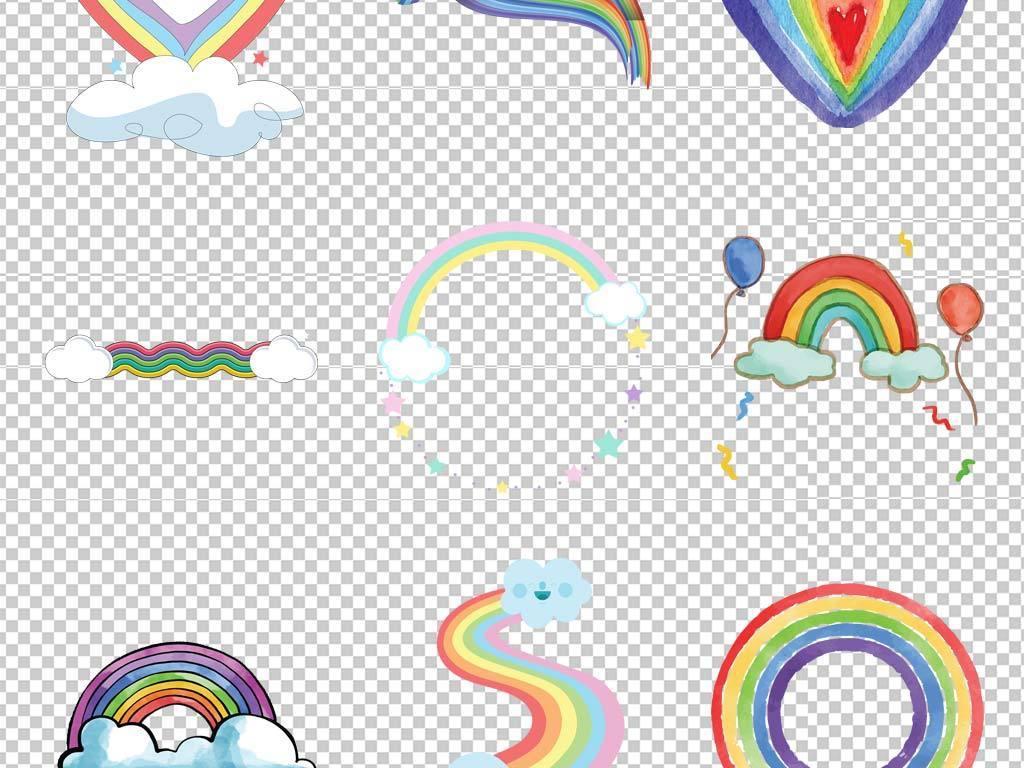 手绘唯美卡通彩虹水彩彩虹彩虹png素材