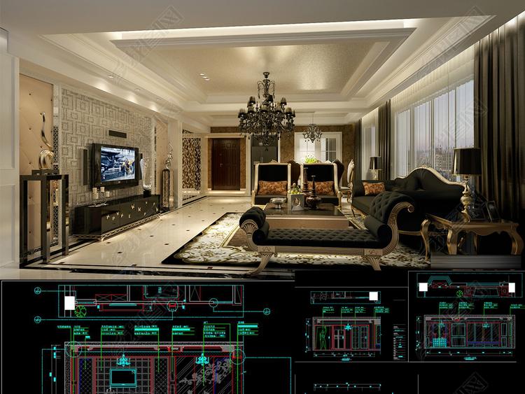 全套欧式家装CAD施工图效果图