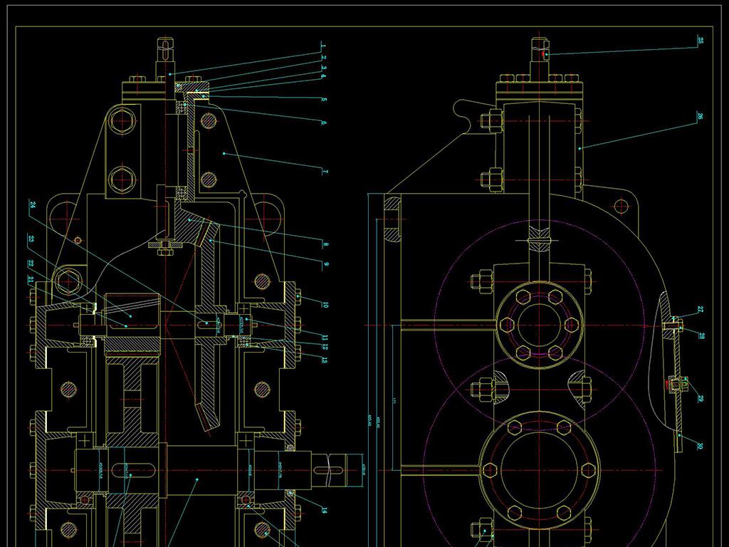 cad二级锥齿轮减速器(装配图)