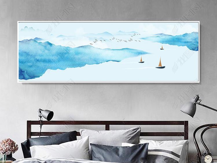 新中式现代简约禅意山水客厅装饰画挂画