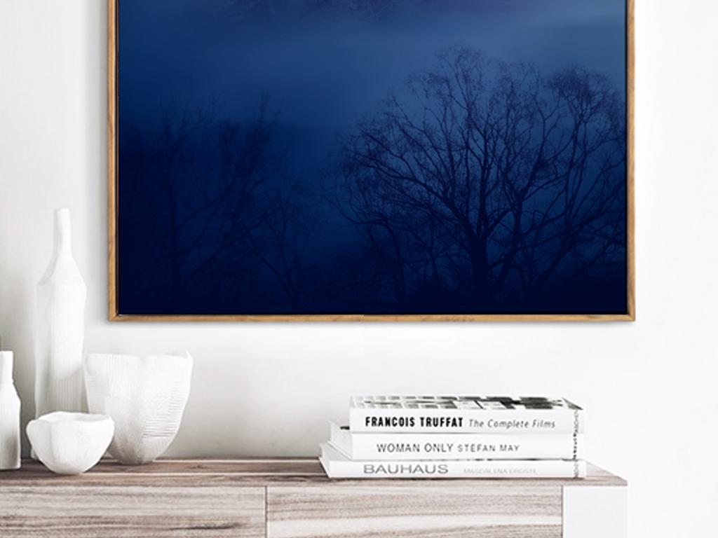 淡雅森林月亮装饰画手绘北欧清新装饰画
