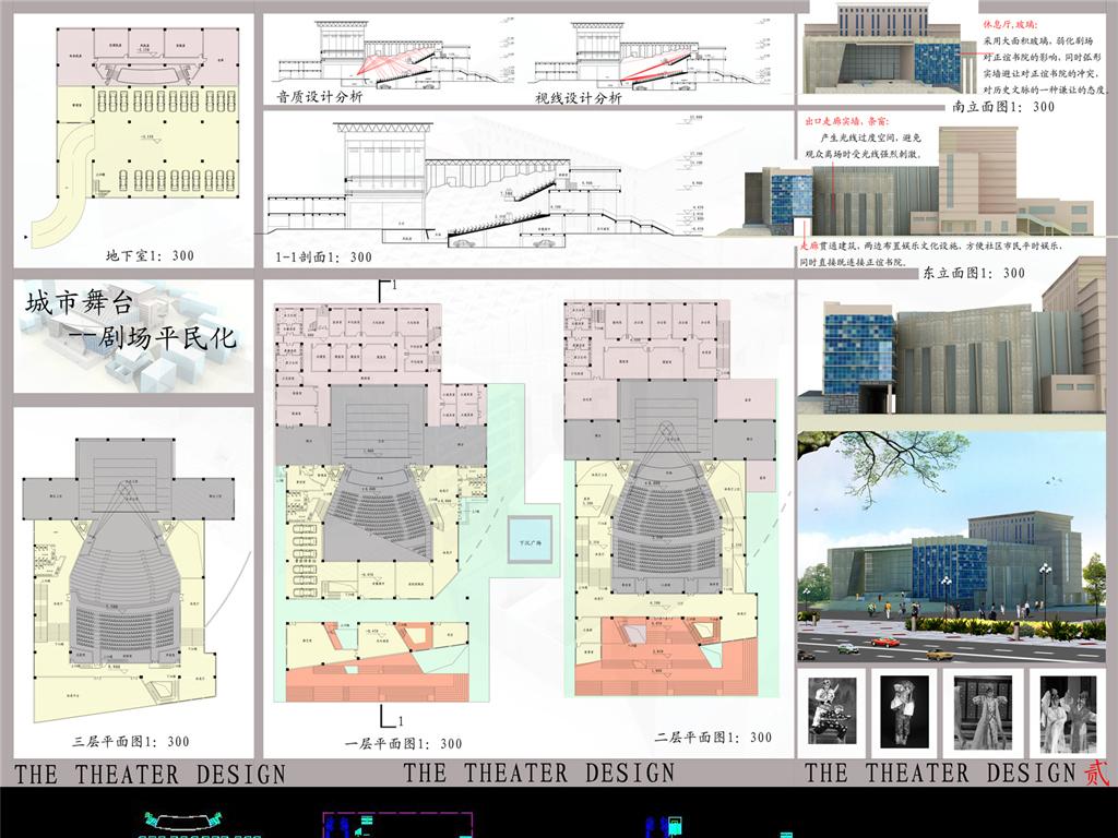剧场建筑设计排版效果图cad图纸