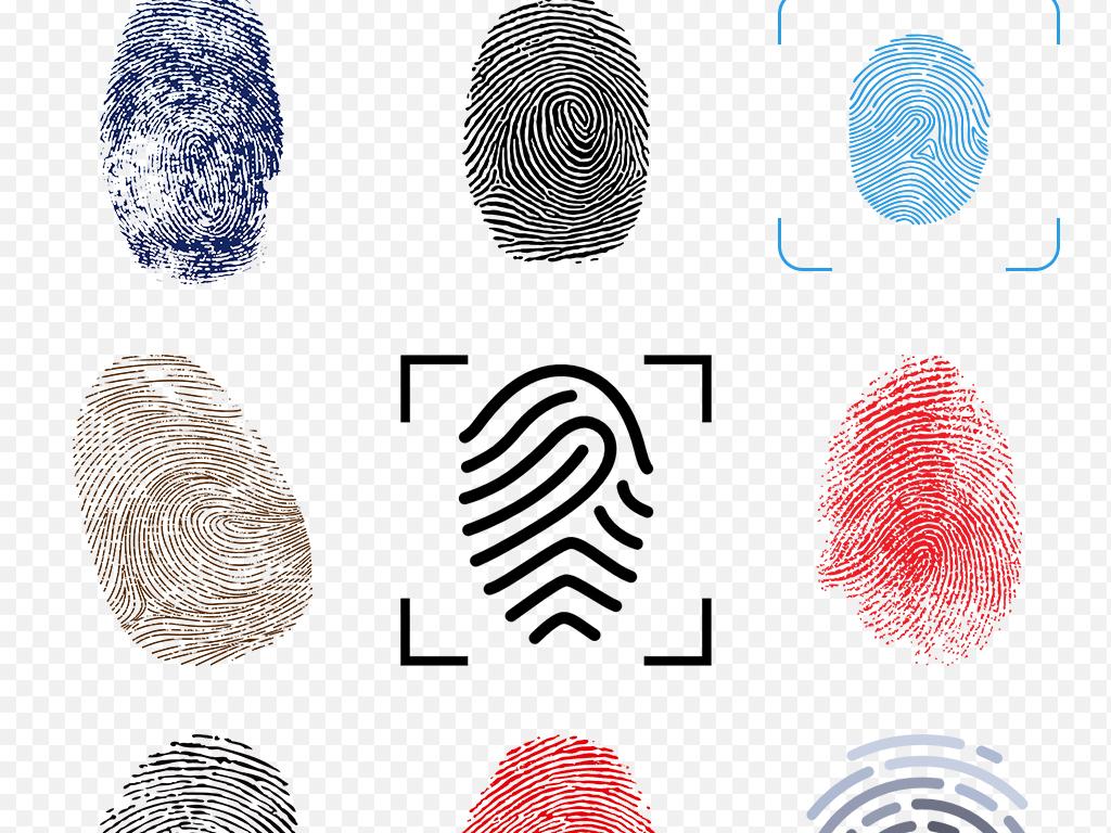 手绘彩色指纹手印微信扫描二维码海报素材背景png