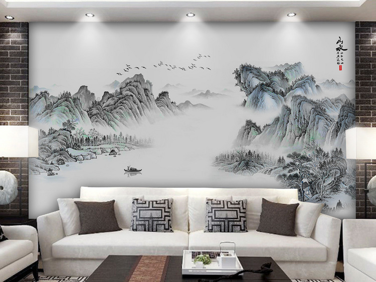 新中式意境抽象水墨山水客厅背景墙壁画