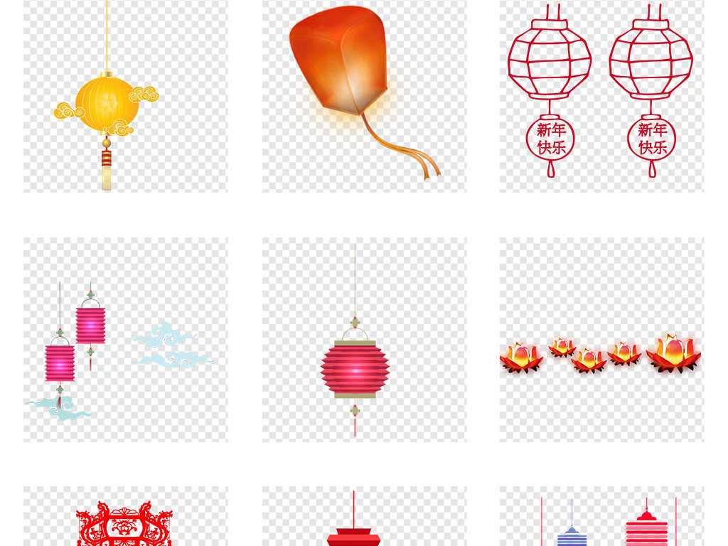 红色古典中国风中秋节灯笼花灯png素材图片
