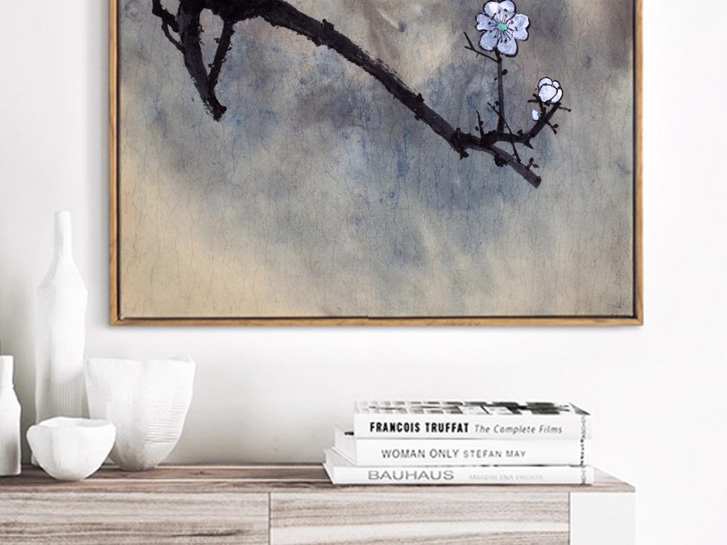 新中式手绘水墨梅花月亮装饰画意境