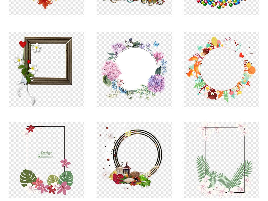 手绘小清新圆形花环边框png海报免抠素材