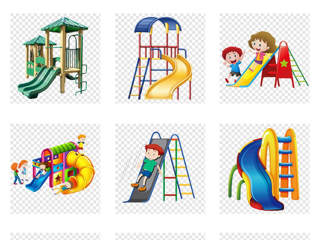 卡通手绘儿童游乐园滑滑梯png免抠素材