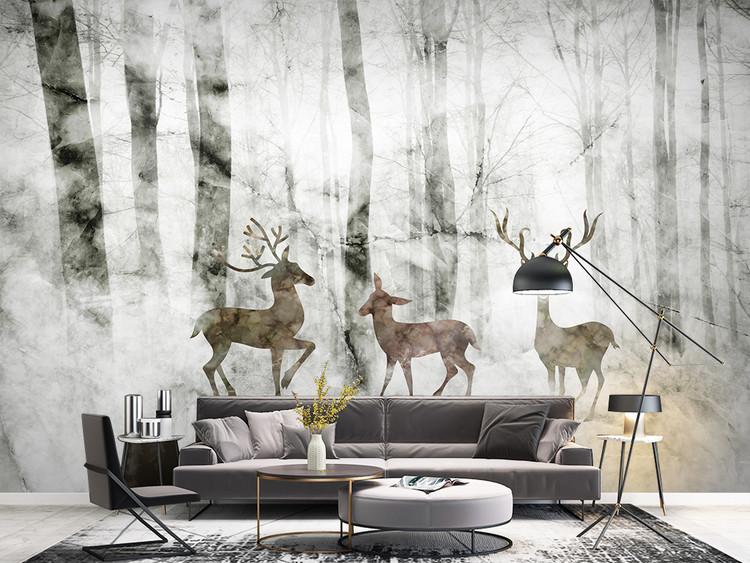 大理石纹森林麋鹿北欧现代电视背景墙