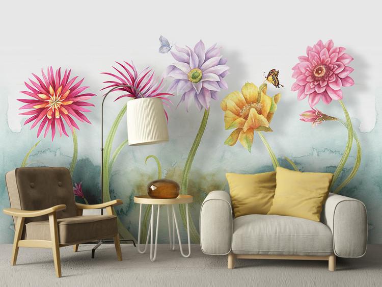 北欧简约小清新花朵水彩风格背景墙