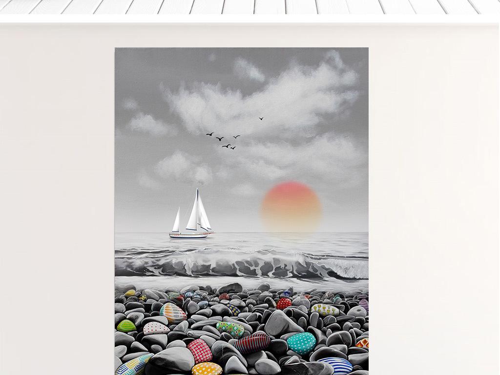 北欧简约抽象手绘油画唯美大海风景无框装饰画