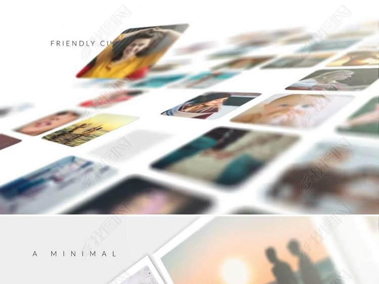 3d企业员工照片墙多图片展示ae模板
