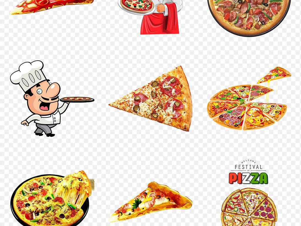 手绘美食美味披萨海报素材背景png