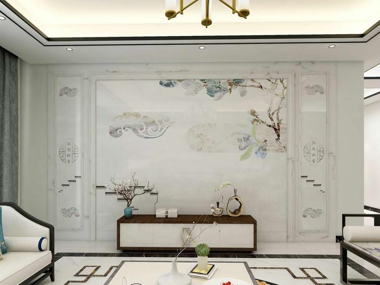 新中式水刀玉兰花背景墙