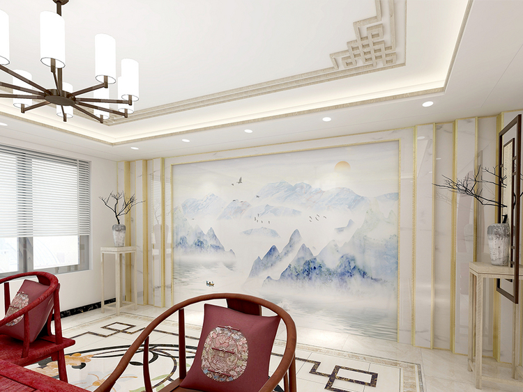 新中式意境石纹山水背景墙