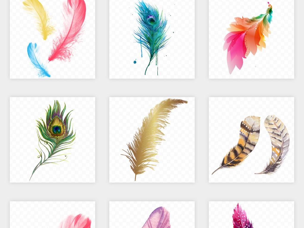 卡通手绘彩色白色羽毛黑色孔雀飘落羽毛png免扣素材