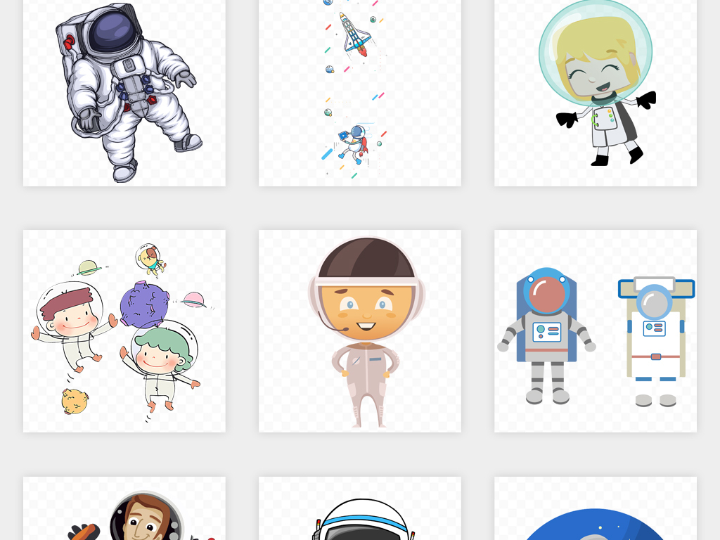 卡通手绘太空宇航员科技背景png免扣素材
