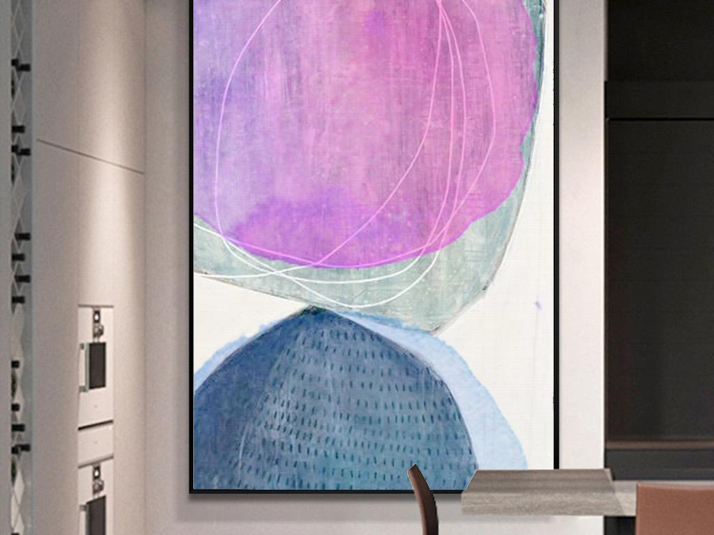 现代简约北欧风格手绘水彩抽象线条装饰画