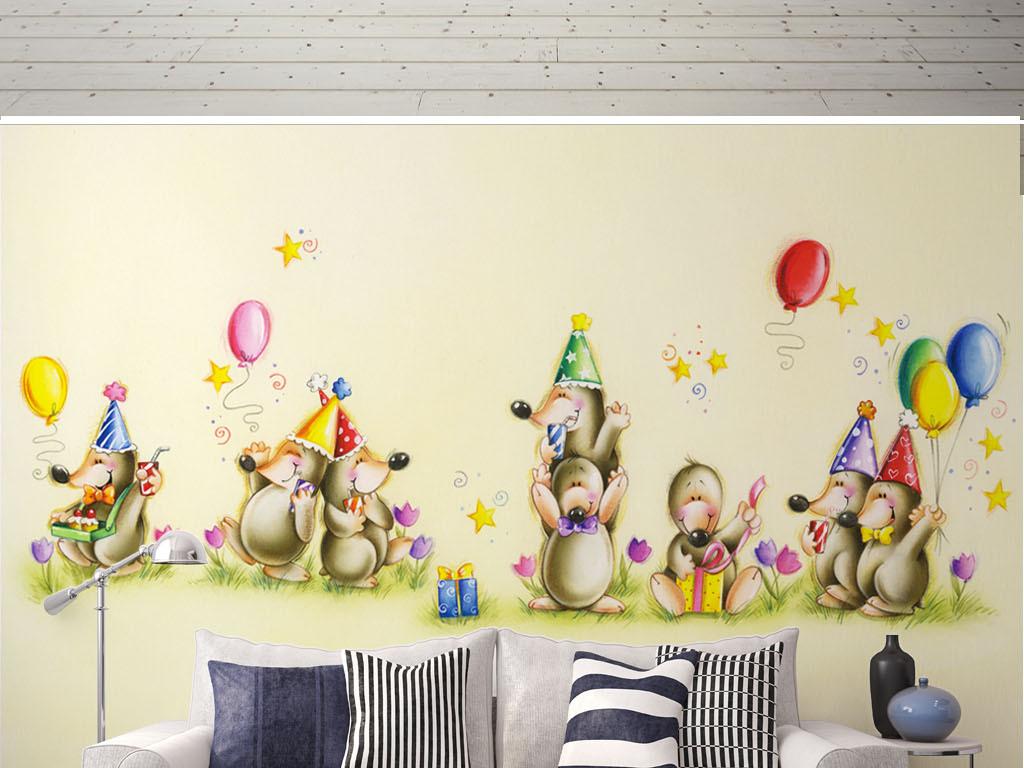 北欧简约卡通可爱动物汽球儿童房屋背景墙