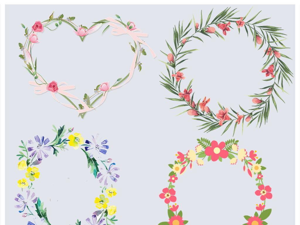 免抠元素 花纹边框 卡通手绘边框 > 小清新手绘水彩边框花环花朵png
