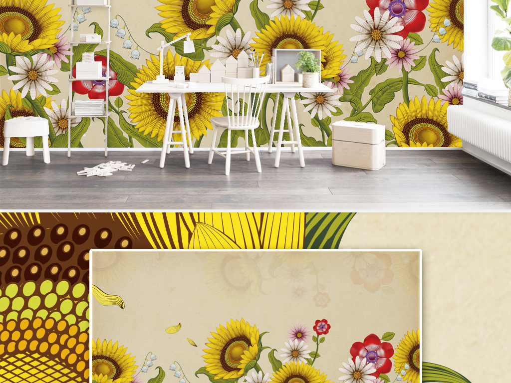 复古手绘唯美向日葵花朵电视背景墙装饰画