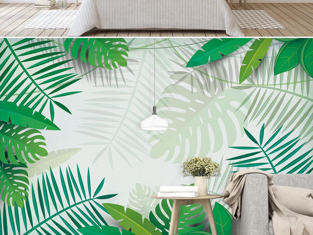 北欧ins热带植物背景墙