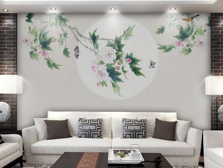 新中式手绘工笔花鸟花开富贵背景墙