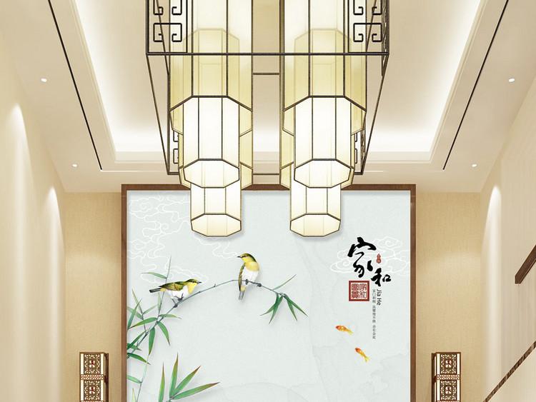 新中式家和富贵荷花竹子玄关背景墙装饰画