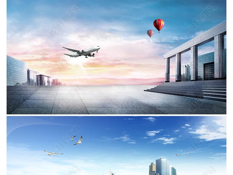 商务办公简约大气飞机航空海报banner背景图