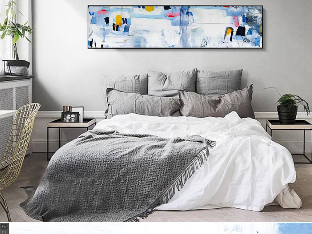北欧现代新款抽象手绘水彩床头沙发装饰画