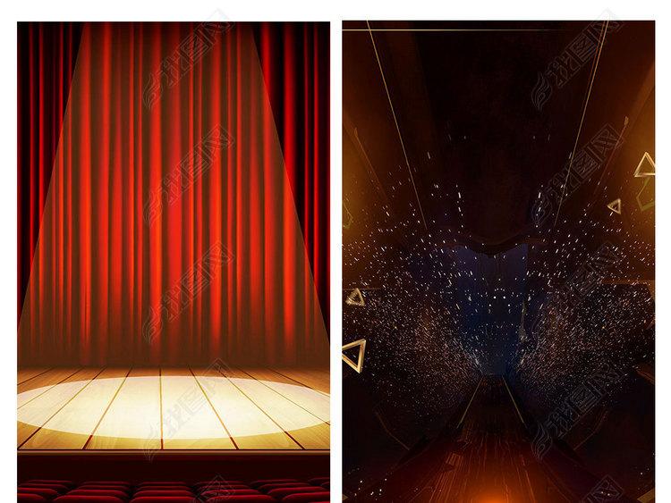 大气红色跳舞展台舞台海报展板背景