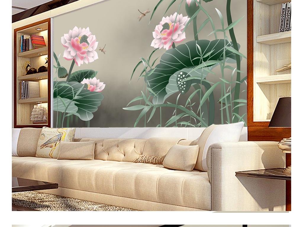 新中式手绘荷花高清荷韵意境电视背景墙
