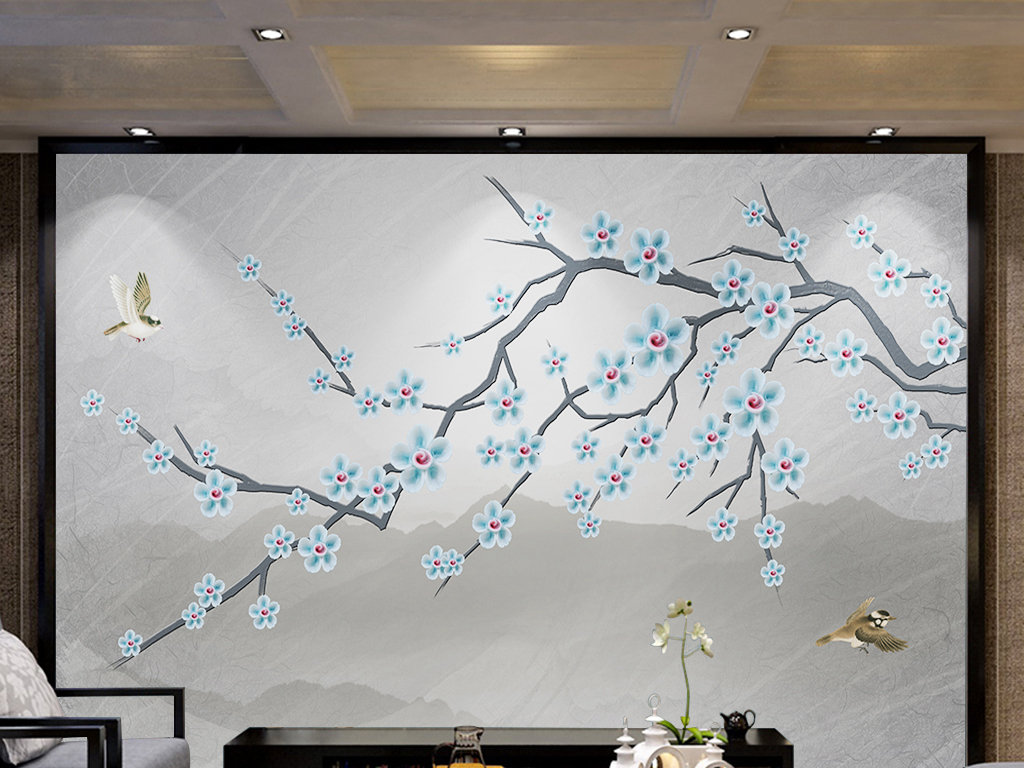 新中式手绘花鸟山水画浮雕梅花背景墙装饰画