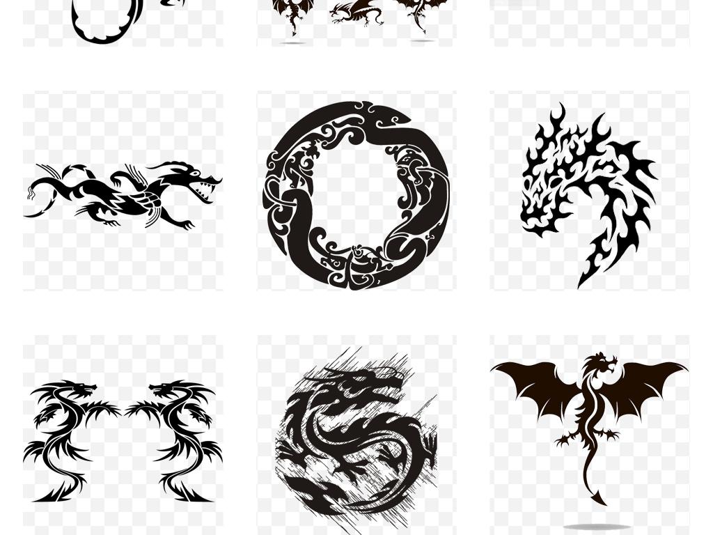 中国风古典龙纹龙图腾龙纹身图案png素材
