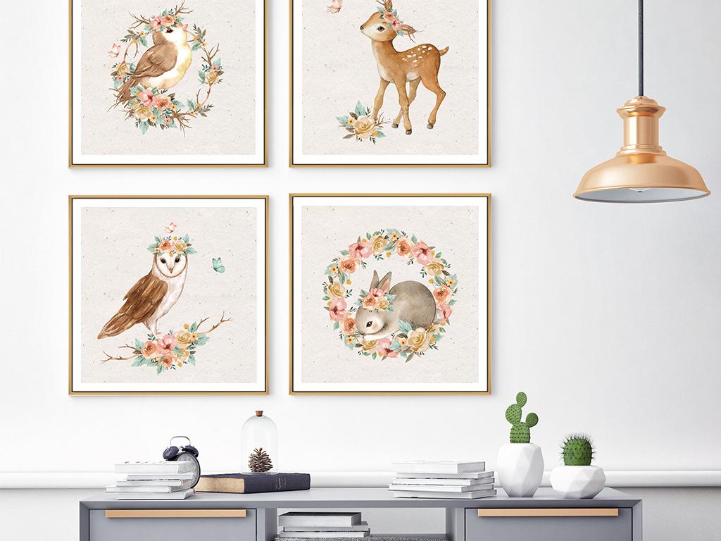 6款手绘森系手绘小动物装饰画