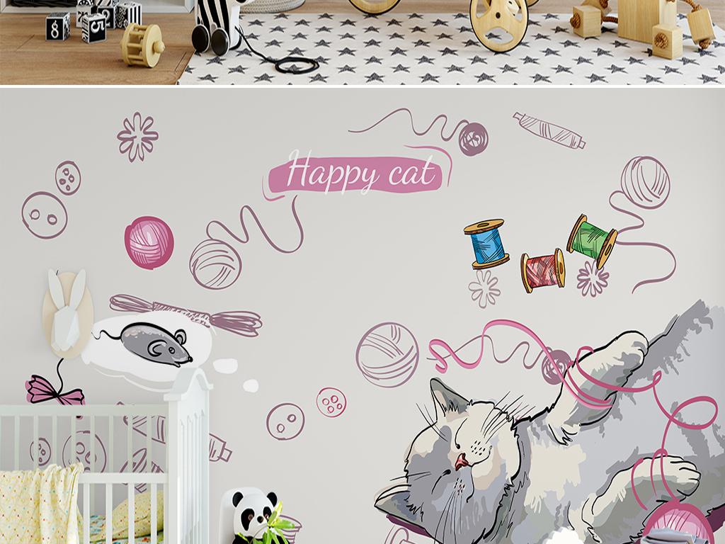 手绘卡通猫咪儿童背景墙图片设计素材_高清psd模板(mb