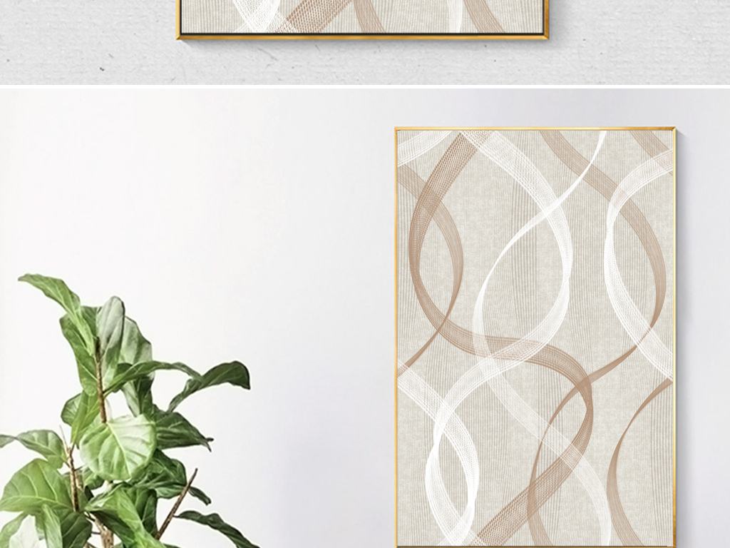 美式手绘抽象线条玄关装饰画背景墙
