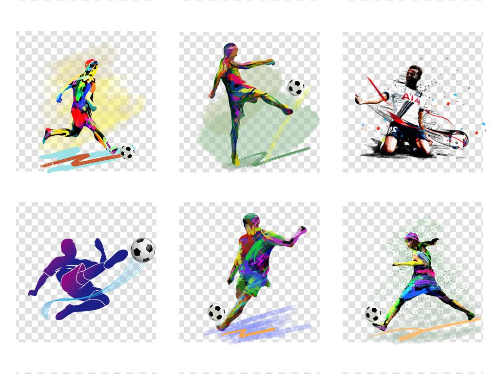 卡通手绘世界杯足球运动员踢足球png人物素材