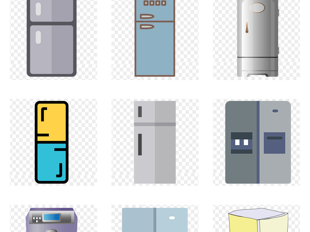 卡通手绘家用电器可爱冰箱png免扣素材