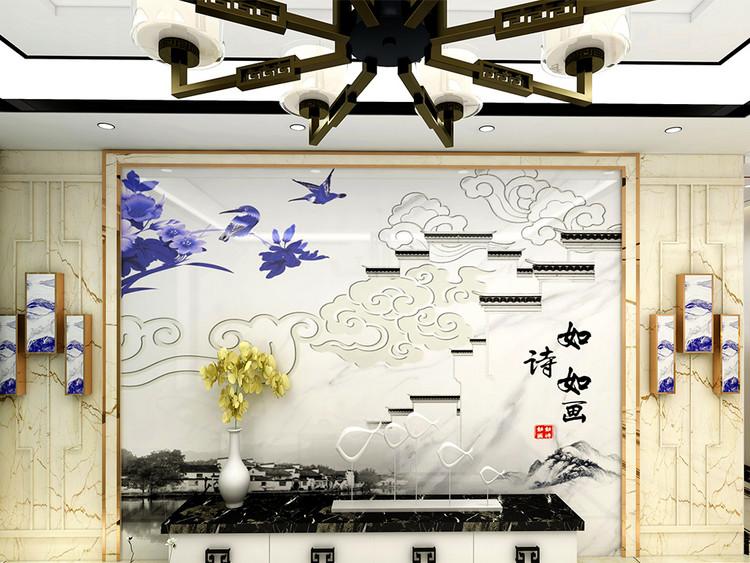 新中式如诗如画背景墙