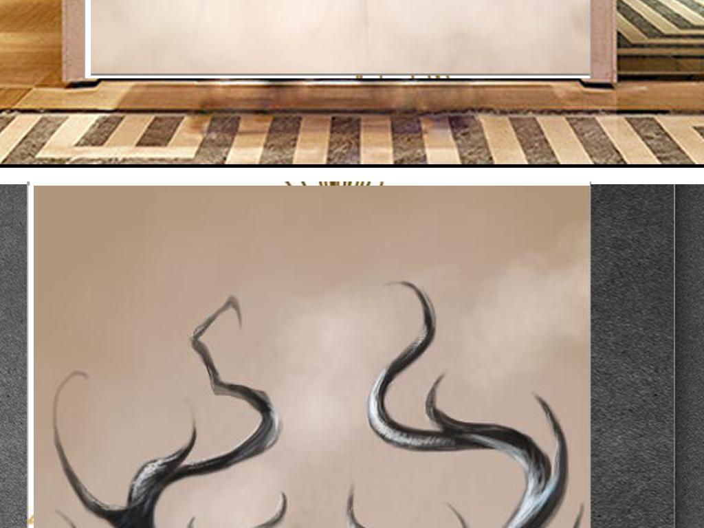 北欧风格手绘麋鹿玄关背景墙图片设计素材_高清模板(.
