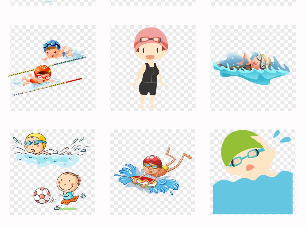 可爱卡通夏天儿童游泳体育运动游泳海报png素材