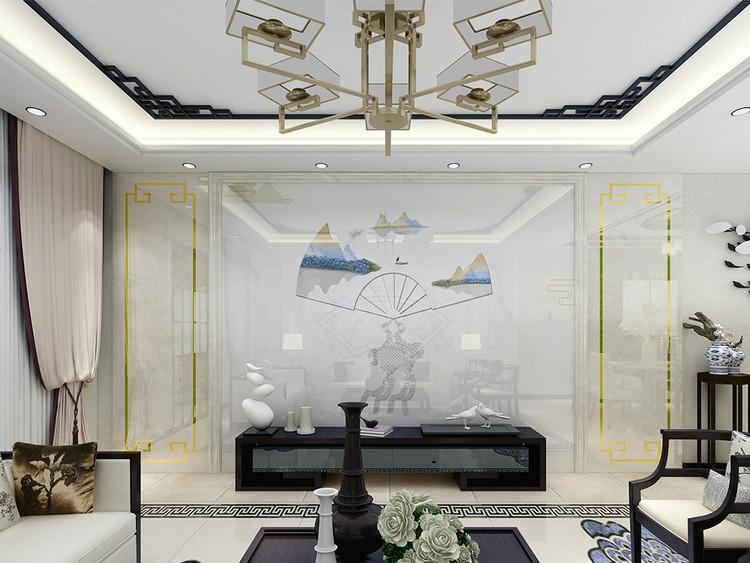 新中式伞形山水背景墙