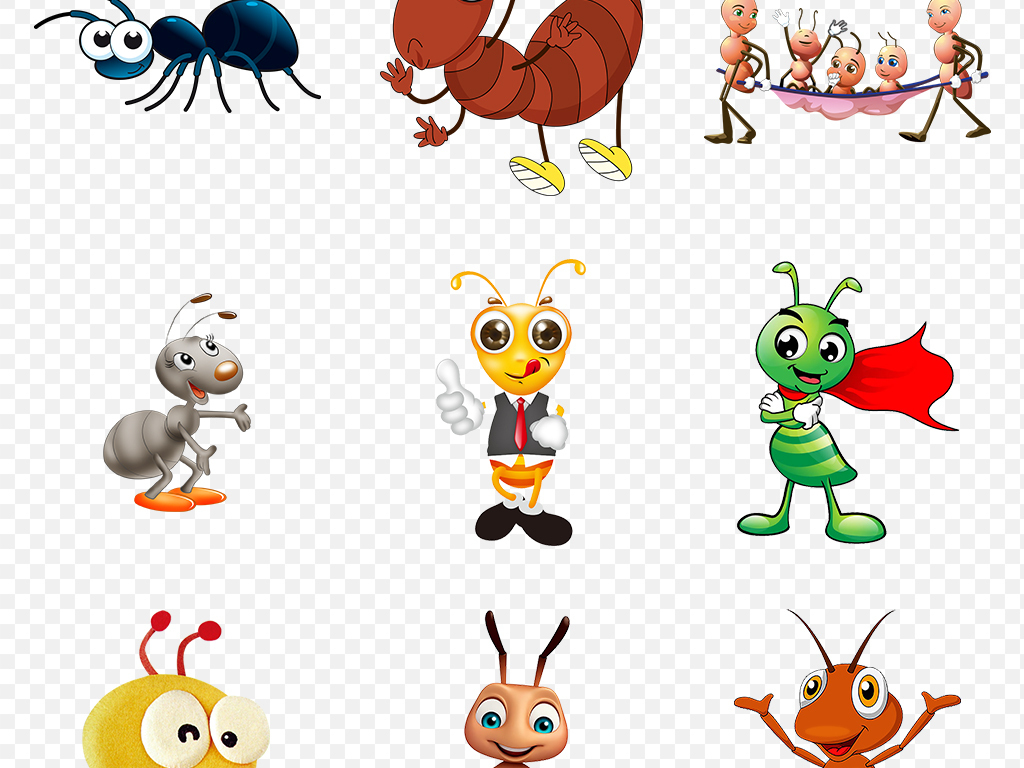 蚂蚁卡通动物幼儿园海报背景素材png