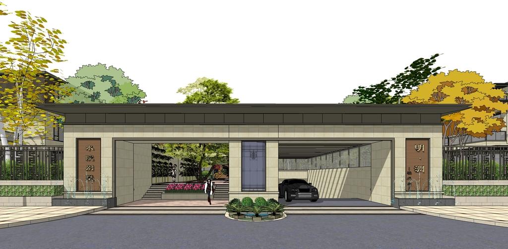 新亚洲,新中式围墙院墙小区入口大门su模型图片