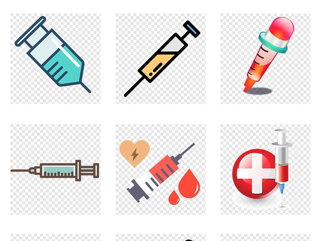 卡通手绘医疗针管注射器png免抠素材