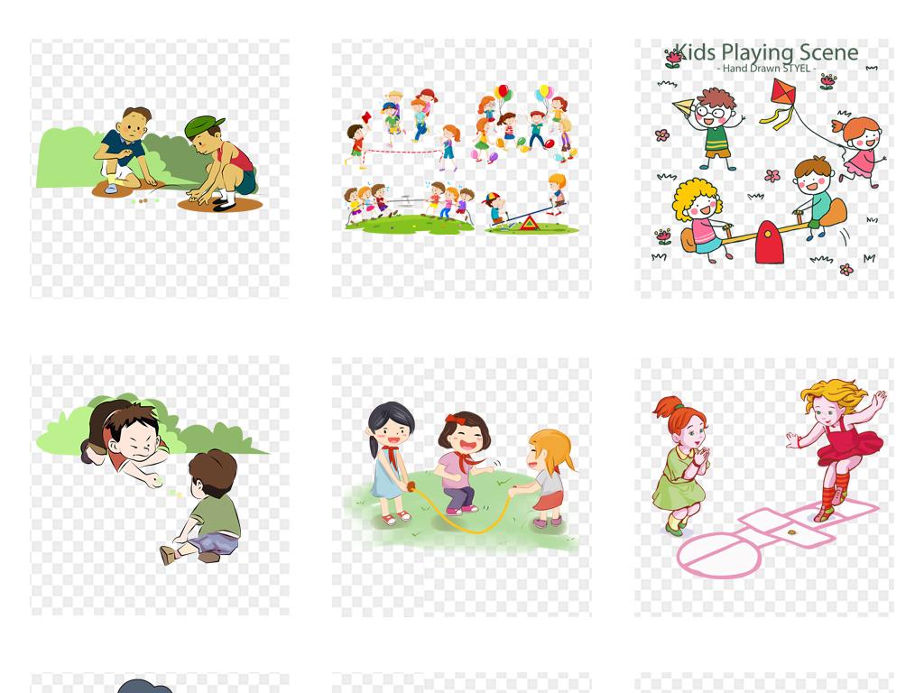 小学生人物小孩手拉手一群儿童学生家长会手牵手手绘儿童素材小孩手绘