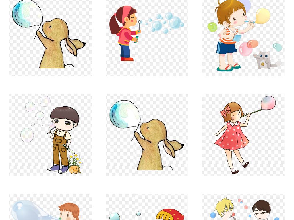 快乐时光童真年代幸福童年儿童游戏插画游戏创意手绘正在吹泡泡